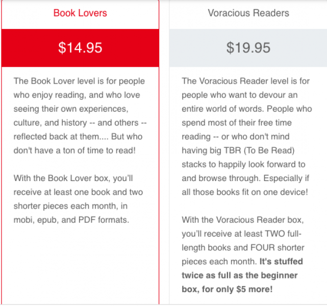 Lit Up's monthly ebook box showcases writing from underrepresented groups. This catalog copy introduced customers to the idea while encouraging them toward the more expensive box.